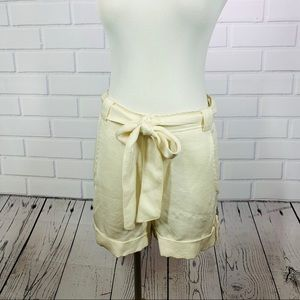 Tribo Basic Cream Linen Belted Shorts - Size Large